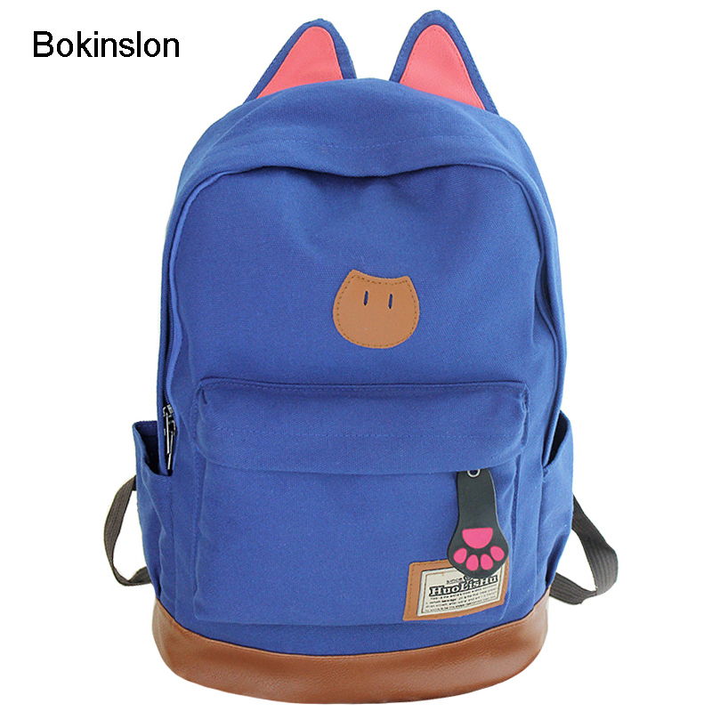 Bokinslon Campus Women Girls Backpack Travel Bag Young Canvas Men Backpack Brand Fashion School Simple Cat