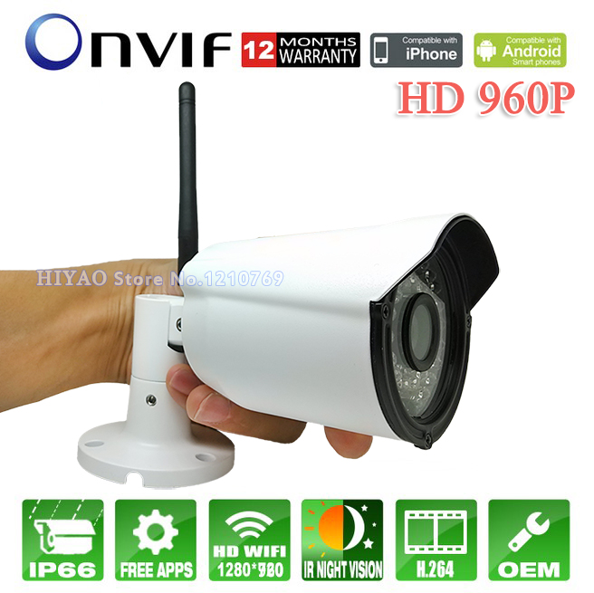 Free Shipping 960p 1.3Mp onvif wifi outdoor home security IR p2p motion detection 6mm lens CCTV Mini Wireless night  IP camera free shipping 2017 newest mini wifi sports camera r360 220degree eyefish lens