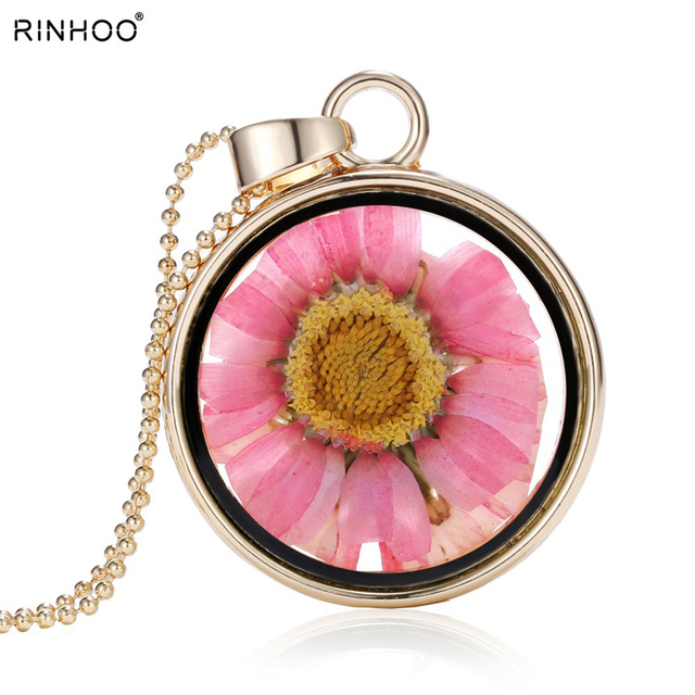 2018 charm memory locket necklace & pendant Dried pink sunflowers DIY Necklace New chain natural jewelry for women