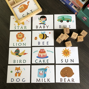 Image 2 - Tarjetas inglesas de aprendizaje Montessori para niños, alfabeto, palabras de ortografía, juegos infantiles, bloque de construcción de palabras, juguetes educativos para edades tempranas