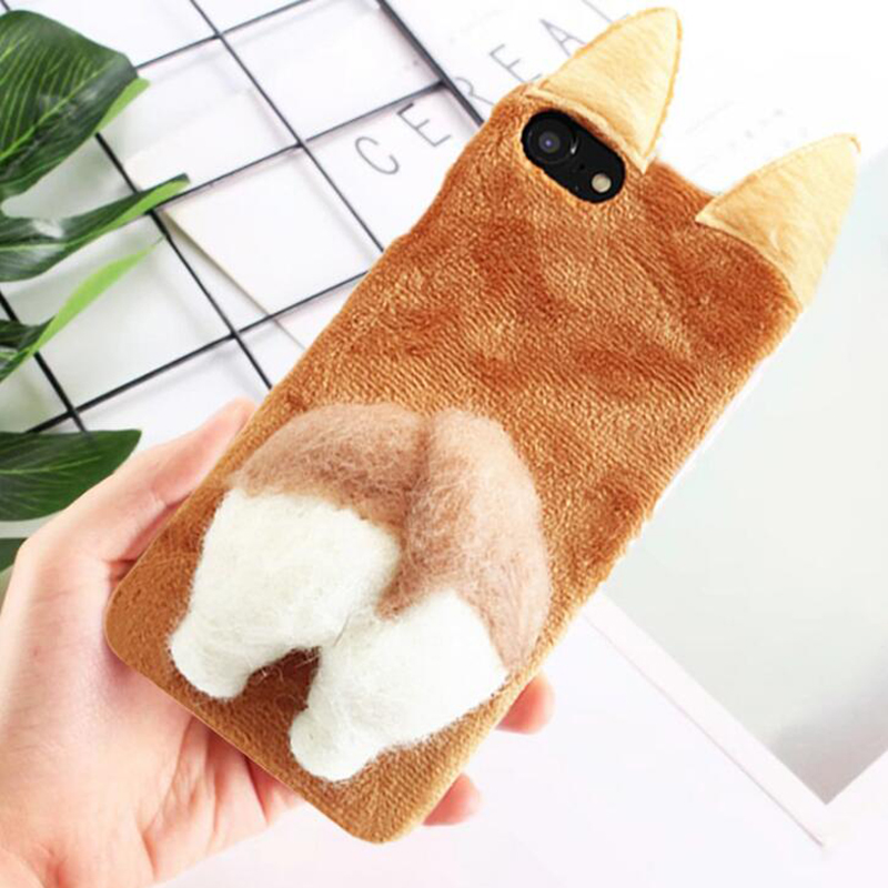 Cute decompression doll flannel Phone Case For iPhoneX/8 Mobile Shell for iphone7plus 6s All-inclusive cover