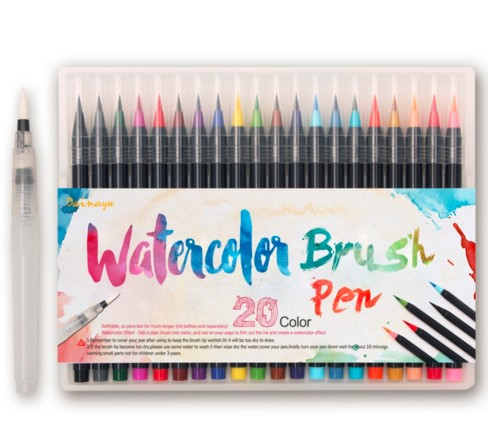 20Colors paint brush Painting Soft Brush Pen Set Watercolor Markers Pen Effect Best For Coloring Books Manga Comic Calligraphy 20 color painting soft brush pen set watercolor markers pen effect best for coloring books student art painting supplies