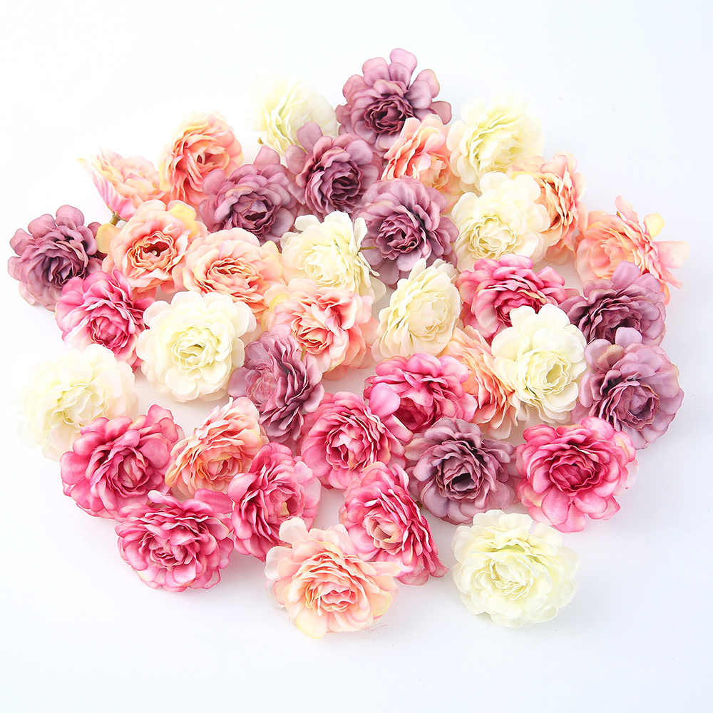 10pcs/lot Artificial Flower 5CM Silk Spring Rose Head For Wedding Party Home Decoration DIY Wreath Gift Box Scrapbook Craft