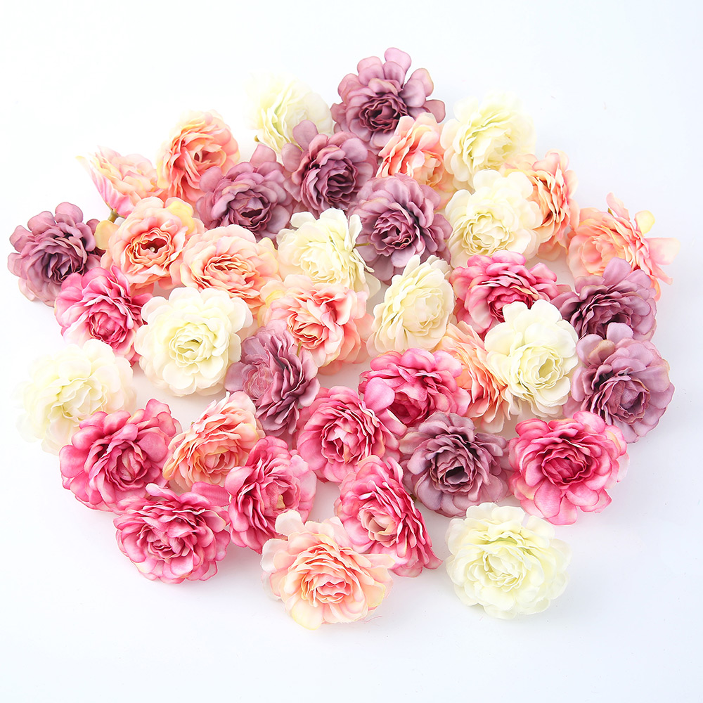 10pcs/lot Artificial Flowers 5CM Silk Rose Head For Wedding Party Home Garden Decorations DIY Craft Gift Box Wreath Scrapbooking(China)