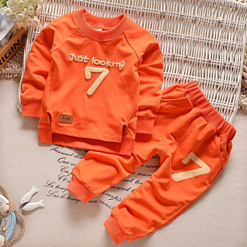 цена Baby Boys Clothing set Casual Sport Letters Tracksuit Infant Toddler Girls Clothes Top 2pcs T-shirt + Pants Kids Warm Winter