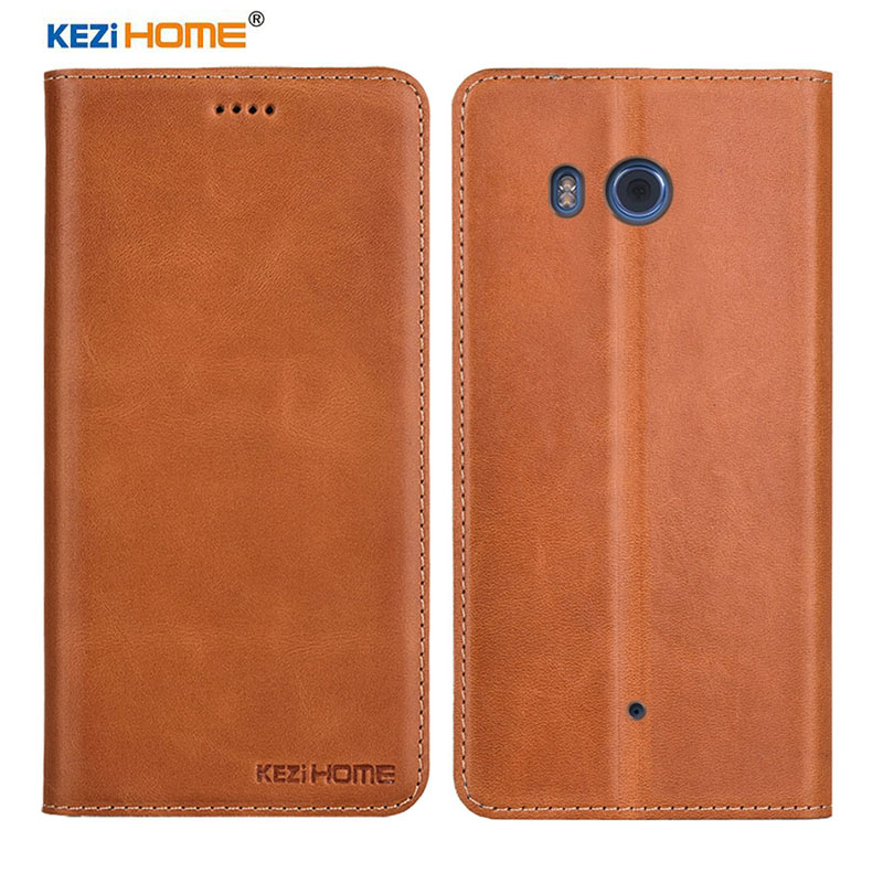 Kezihome Genuine For Htc U11 Cases TPU Protector Mobile Phone Case For Htc U11 Flip Covers With Wallet Slot Card