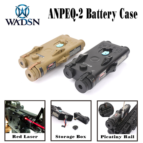 wadsn airsoft peq2 tatico um peq 2 caixa de bateria laser vermelho ver para 20mm