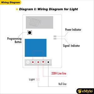 Image 5 - Emylo ضوء التحكم عن الإرسال AC220V 230V 240V 1000 واط 2x4 زر التبديل 4x1 قناة التبديلات rf 433 ميجا هرتز اللاسلكي التبديل