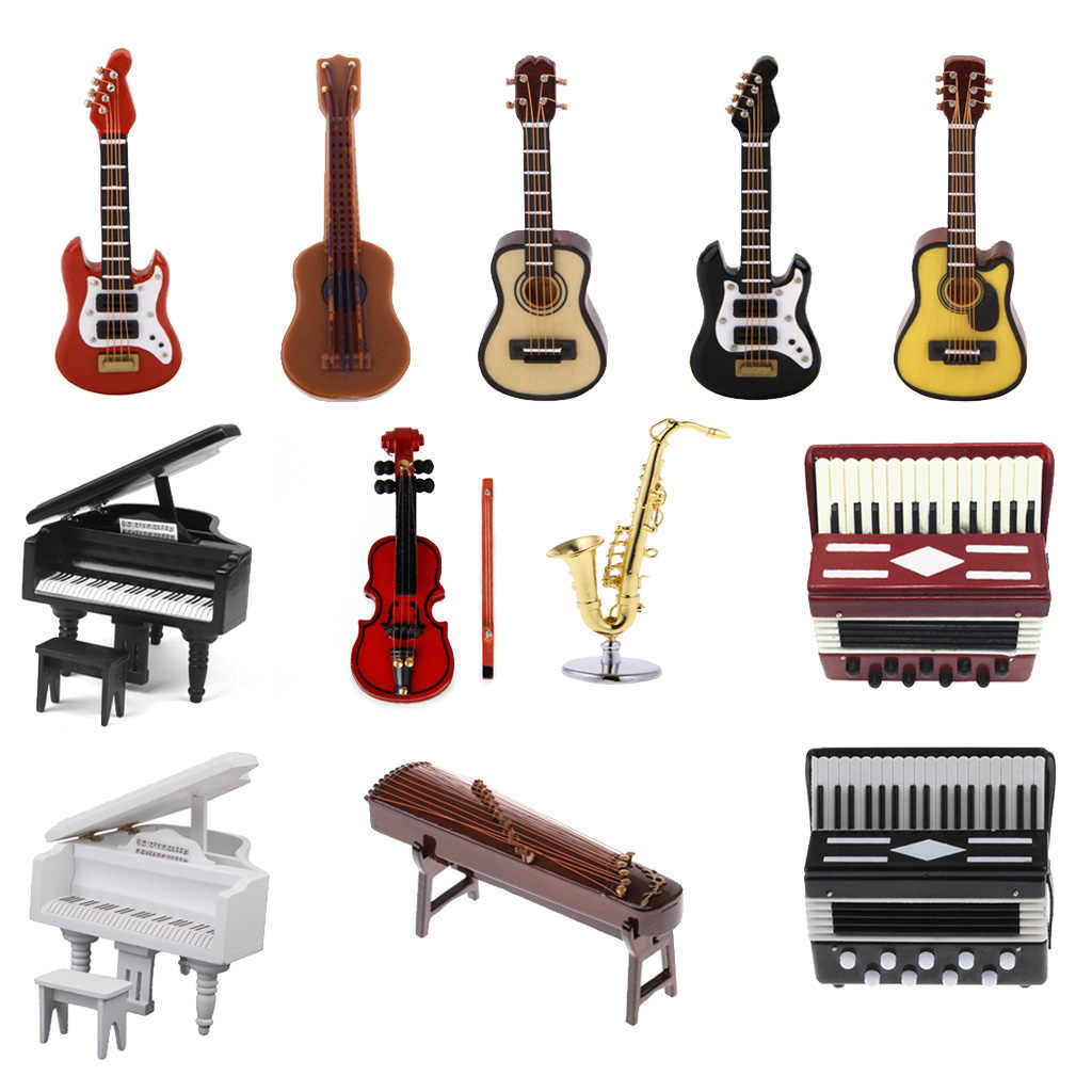 1 : 12 Miniature Wood 11 strings Chinese Zither Instrument for 1/12 Dollhouse Classic Toys Pretend Play Furniture Toys Gift