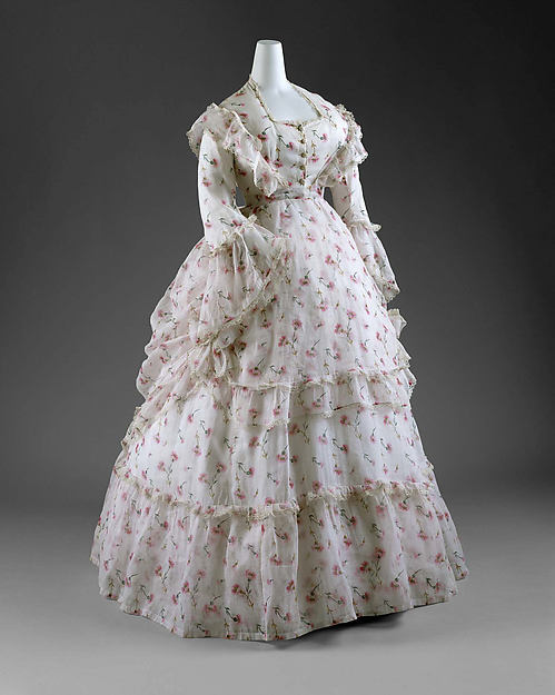 1870s Period Romanticism Fashionable Dress Theater Dress