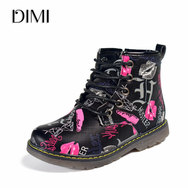 DIMI 2019 New Kids Boots Girls Leather Martin Boots Fashion Brand Children Boys Boots Waterproof Ankle Baby Boots Shoes For Girl