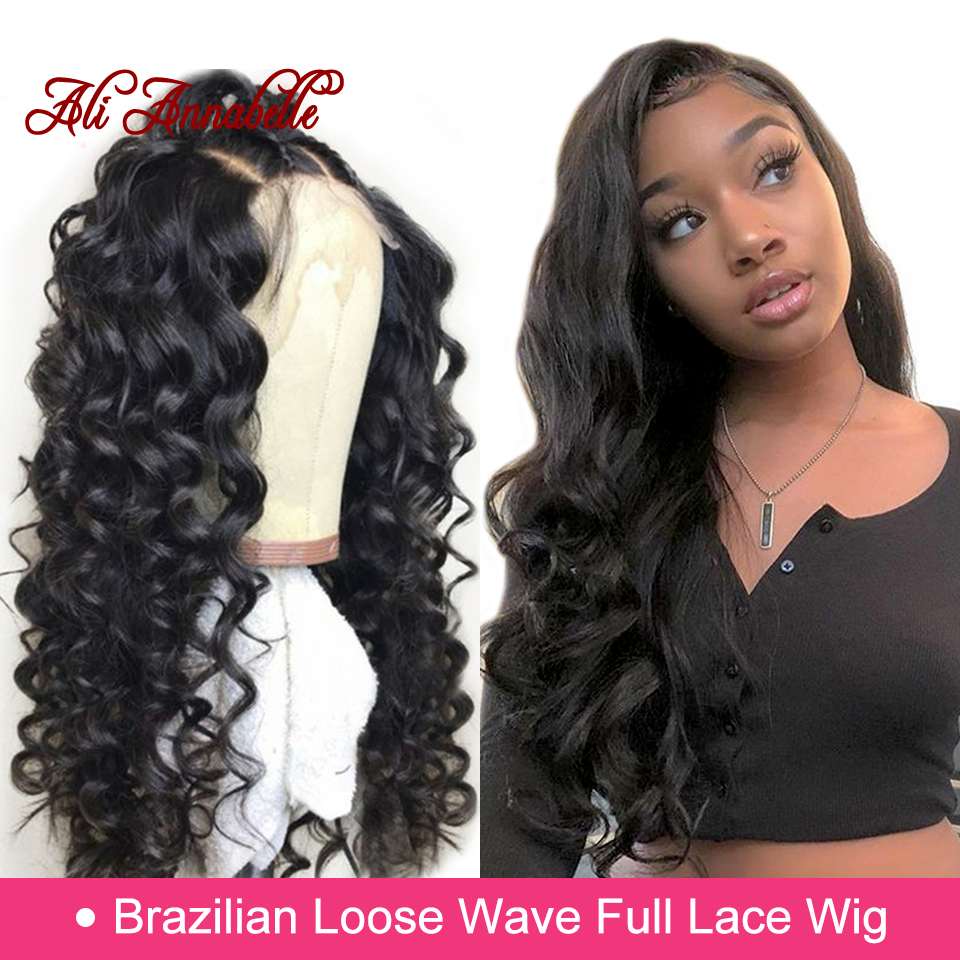 Full Lace Human Hair Wigs Brazilian Loose Wave Human Hair Wigs With Baby Hair 130 150