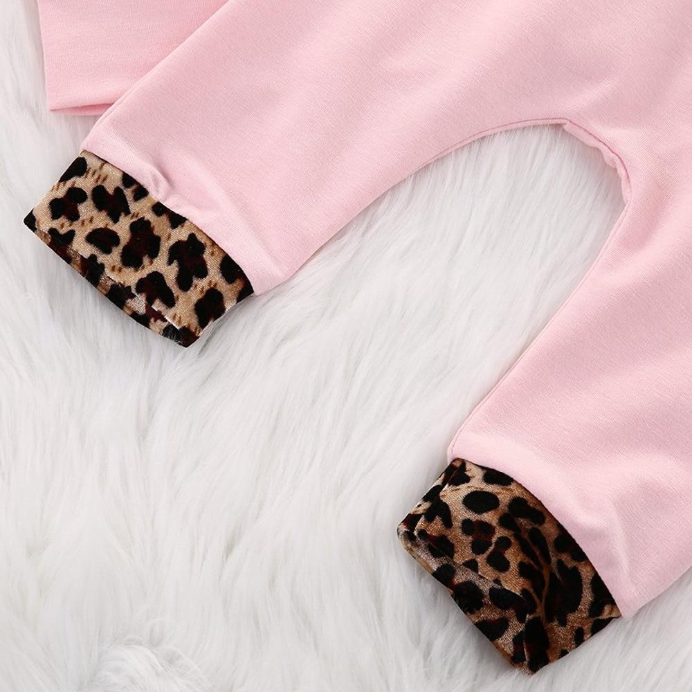 Newborn Baby Girls Pink Leopard Bluza z kapturem z długim rękawem - Odzież dla niemowląt - Zdjęcie 5
