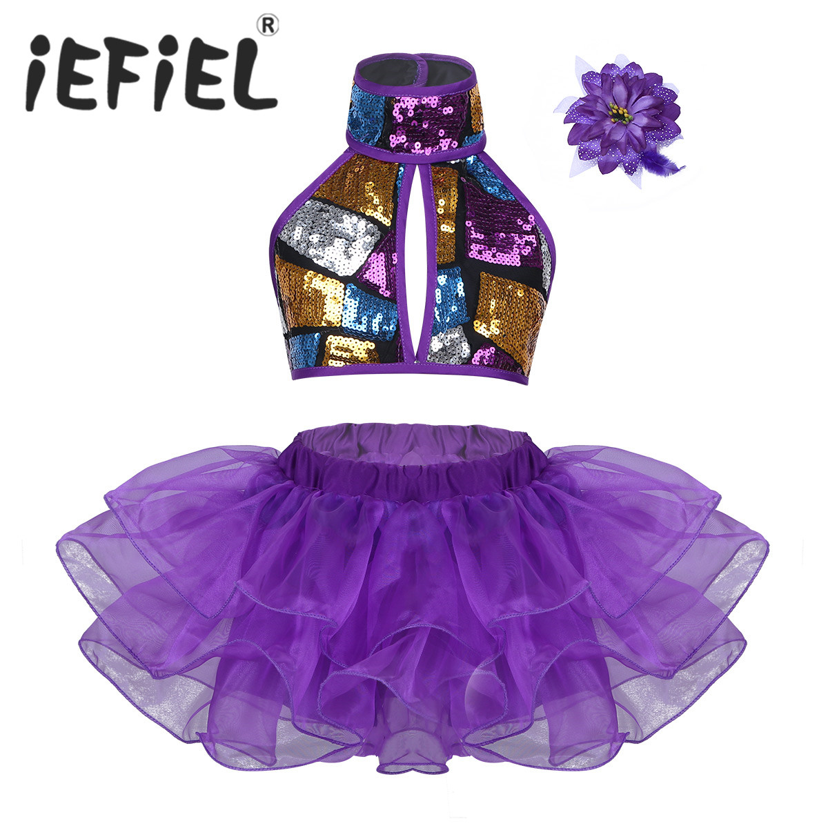 Fashion Girls Sequins Dance Costume Halter Crop Top with Tutu Dress Flower Hair Clip Set for Ballet Jazz Dance Stage Performance