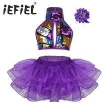 Fashion Girls Sequins Dance Costume Halter Crop Top with Tutu Dress Flower Hair Clip Set for Ballet Jazz Dance Stage Performance