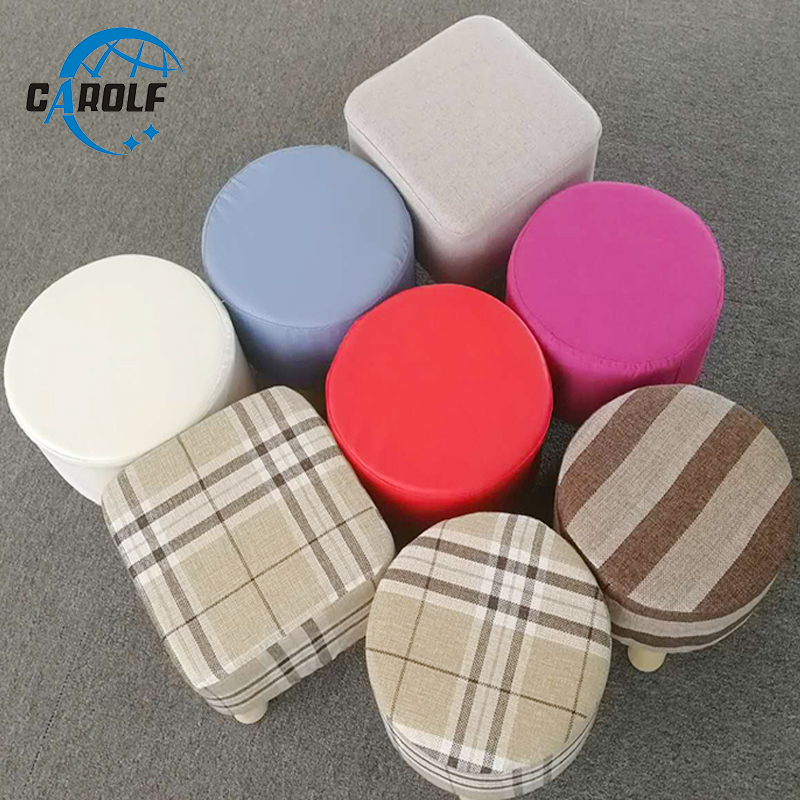 Hot Selling Round Ottoman Stool Small Wooden Soft Rest Chair Quadruped Pouffe Footstool Seat