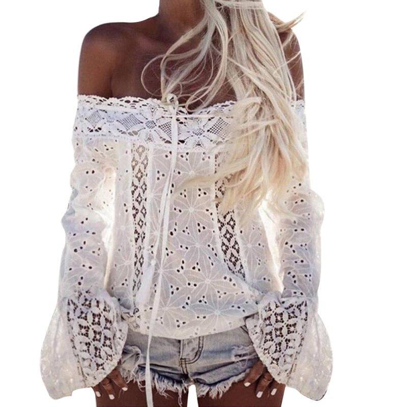 Sexy Weiß Spitze Bluse Shirt Frauen Mode Off Schulter Top Slash neck Flare Hülse Weibliche Blusen Sommer Aushöhlen Tops