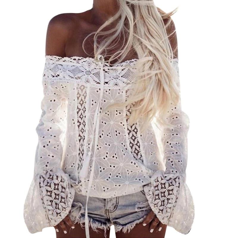 Sexy blanco Lace blusa camisa mujeres moda de hombro Top Slash neck Flare manga blusas femeninas verano ahueca hacia fuera las tapas