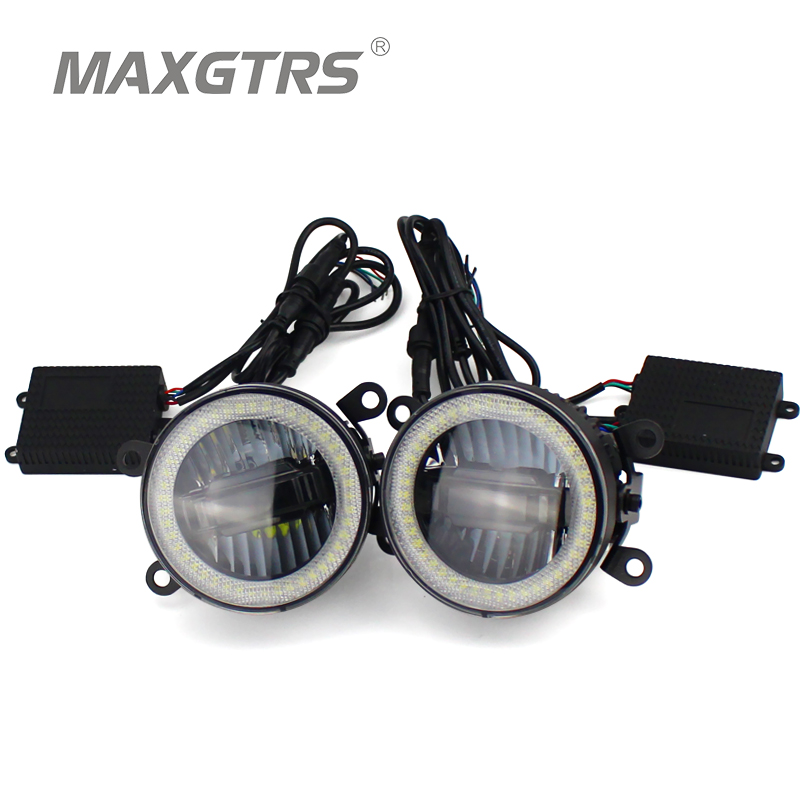 2x Universal 3.5 inch Auto Light LED Angel Eyes Daytime Running Light DRL Car Fog Light Assembly Foglamp For Nissan Mitsubishi 2x 3 inch 76mm round led cob projector fog light lamp bulbs with green angel eyes halo ring drl daytime running lamp car auto