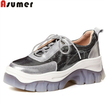 ASUMER 2020 new pumps shoes women round toe genuine leather shoes platform Thick sole elevator shoes women high heels shoes