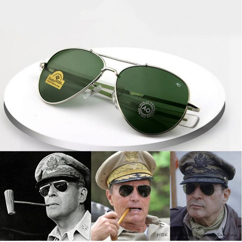 Vintage aviação óculos de sol homens 2019 alta qualidade exército americano militar óptica ao óculos de sol feminino óculos de sol masculino