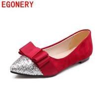 Mulheres apartamentos Egonery moer arenoso bling casamento lazer lady butterfly-nó do dedo do pé apontado mulheres primavera sapatos desgaste-oposição
