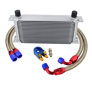 Image 4 - UNIVERSAL 19 ROWS OIL COOLER KIT +OIL FILTER SANDWICH + STAINLESS STEEL BRAIDED AN10 HOSE WITH PQY STICKER+BOX