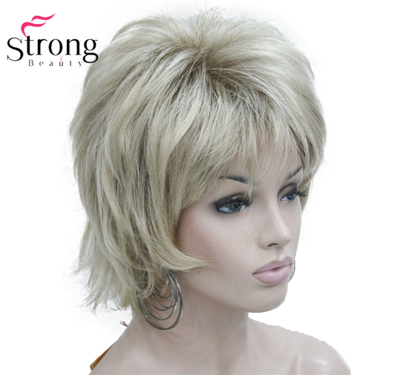 StrongBeauty Blonde Short Flip Up Shag, Soft & Full Synthetic Wig COLOUR CHOICES
