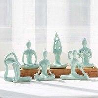 Abstract Art Ceramic Yoga Poses Figurine Porcelain Yoga Lady Statue Different Poses Home Yoga Studio Decor