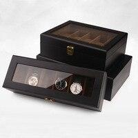 Luxury Wooden Jewelry Case With Glass Window Display Watch Bracelet Storage Box Home Travel Organization Free Shipping ZA4336