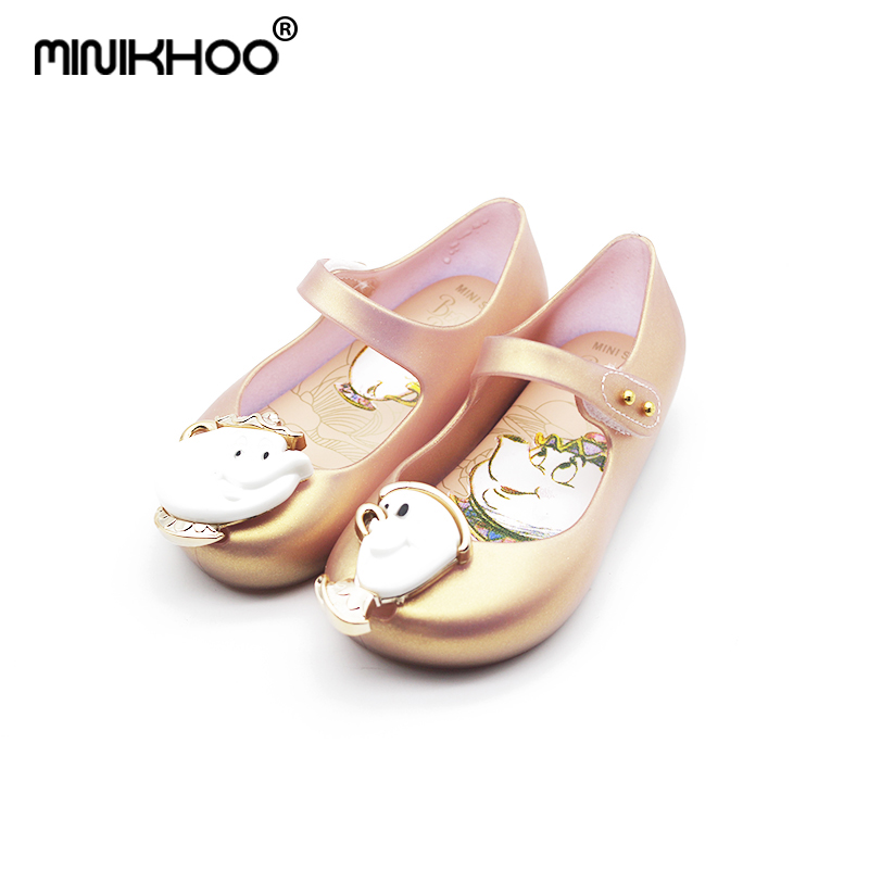 Mini Melissa 2018 Cup Mini Jelly Sandals For Girls Childrens Shoes Beauty and Beast Teapot Jelly Shoes Sandals Jelly 15-18.5cm