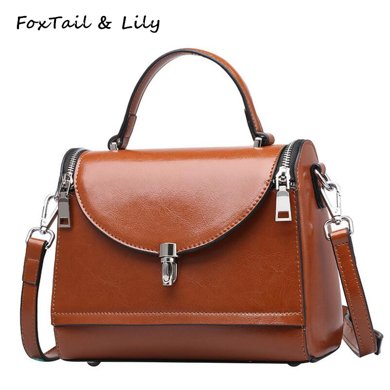 FoxTail & Lily Wax Cowhide Vintage Small Shoulder Bag Genuine Leather Women Handbag Designer Tote Crossbody Bags High Quality imido hot sale designer genuine leather bags women shoulder bag cowhide crossbody small bags purple yellow dollar price mg020