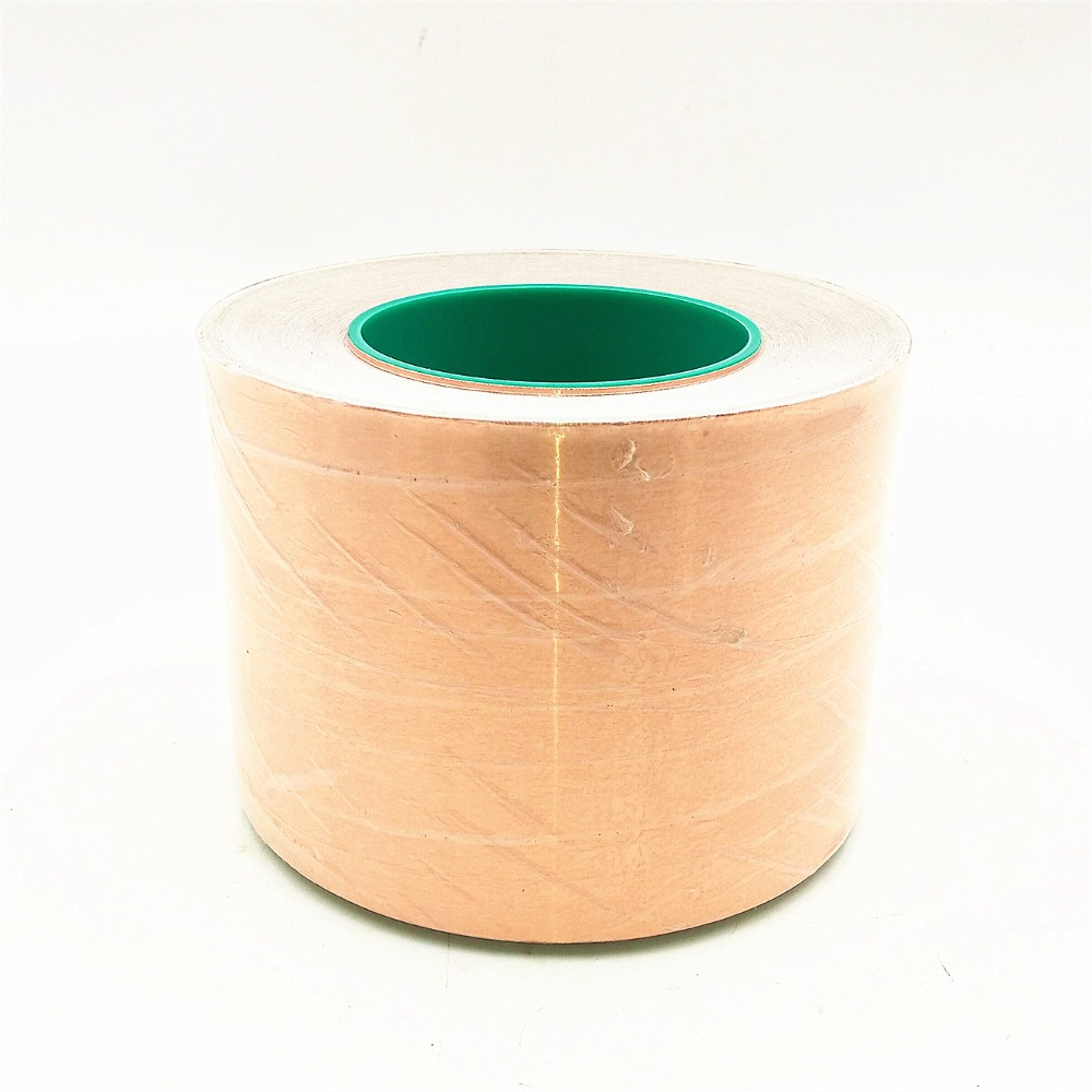 50m*100mm double-sided conductive copper foil tape conductive heat shield high temperature resistant tape 0.065mm thick copper tape double sided conductive adolescent science education diy electronics smt circuit course materials package parts
