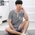 Pijamas Homens Verão Curto-Luva de Algodão Fino Calções Sleepwear Listrado Homens Set lounge Pijama