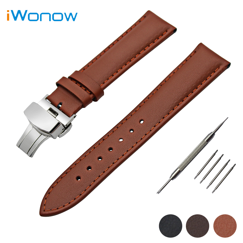 Genuine Leather Watch Band 22mm for Samsung Gear S3 Classic / Frontier Butterfly Buckle Strap Wrist Belt Bracelet Black Brown 22mm stainless steel watch band for samsung gear s3 classic frontier butterfly buckle strap wrist belt bracelet black silver