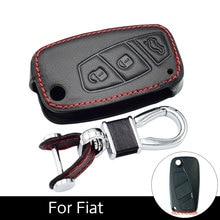 3 Genuine Leather Inlay Buttons Car Key Cases Fob Key for Fiat Panda Stilo Doblo Bravo Grande Big Ducati 500 Ducato Minibus стоимость