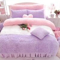 Постельное белье Принцесса 100% хлопок постельных принадлежностей юбка стиль/Домашний текстиль/набор кровать/постельное белье Король, коро