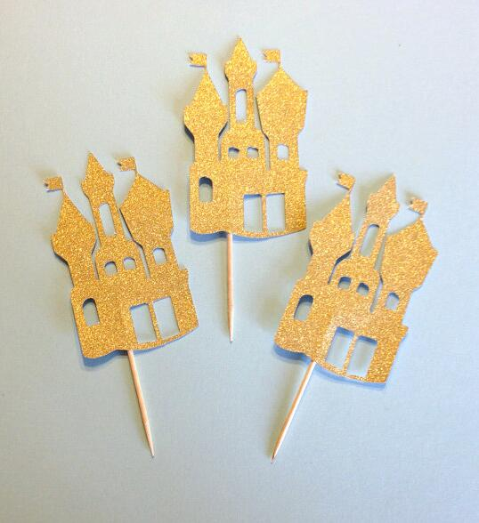 gold Fairy Tale castle princess birthday Cupcake Toppers bridal ...