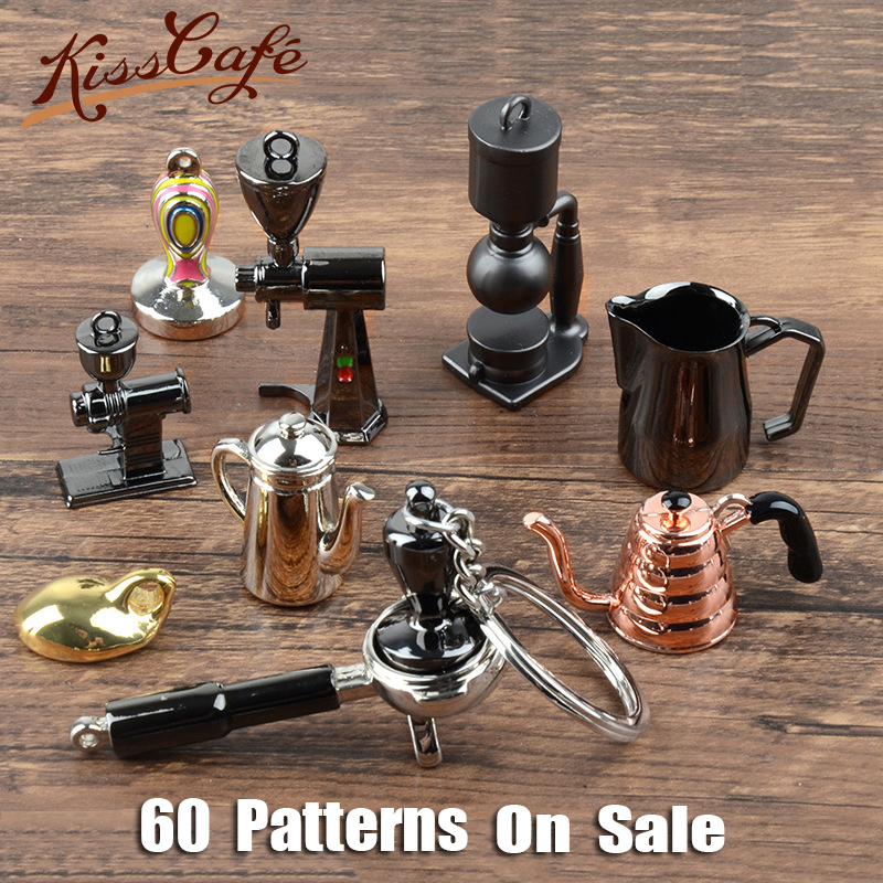 Espresso Accessories Coffee Keychains Mini Coffee Milk Cup Tamper Grinder Key Chain Cafe Gift Lovers Barista Keyring Gift