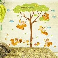 מדבקות קיר מדבקת בית סנאי סנאי לשחק תחת קיר עץ יער בעלי החיים עיצוב אומנות ציור קיר חדר ילדים קיר פוסטר applique