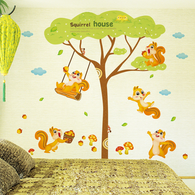 Squirrel Home Wall Decal Sticker Squirrel Playing under tree Wall ...
