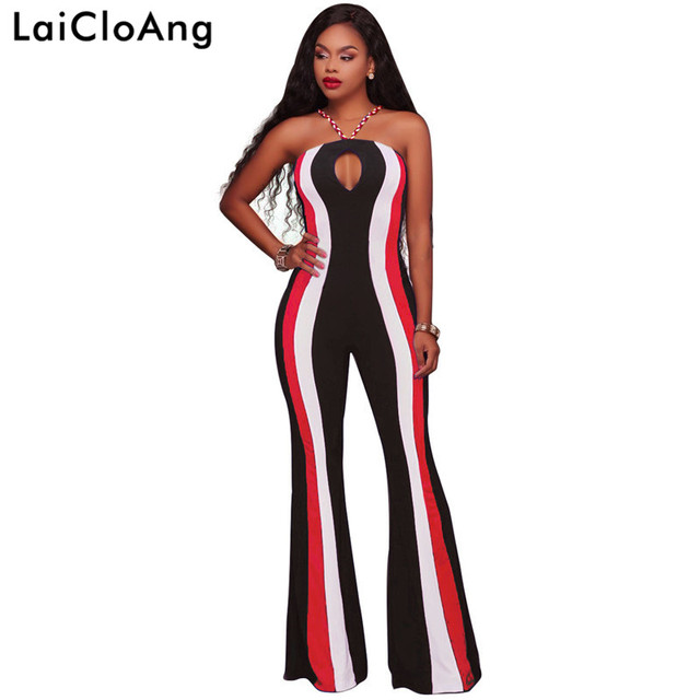 536137f8858 Striped Print Strapless Sexy Rompers Womens Jumpsuit Hollow Out Sleeveless  Loose Jumpsuit Women Backless Spaghetti Strap Romper