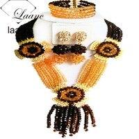 חמה למכירה זהב בראון קריסטל חרוז תכשיטי חרוזים אפריקאים סט עגילי צמיד שרשרת חתונה ניגרית CPS-172