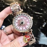 New Women Watch Stainless Steel Watches Lady Shining Rotation Dress Watch Big Diamond Stone Wristwatch Lady Rose Gold Watch 2018