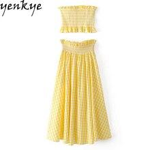 Fashion Women Summer Yellow Plaid Two Piece Set Sexy Off Shoulder Crop Top + Elastic High Waist Long Skirt Set  XNGC9056