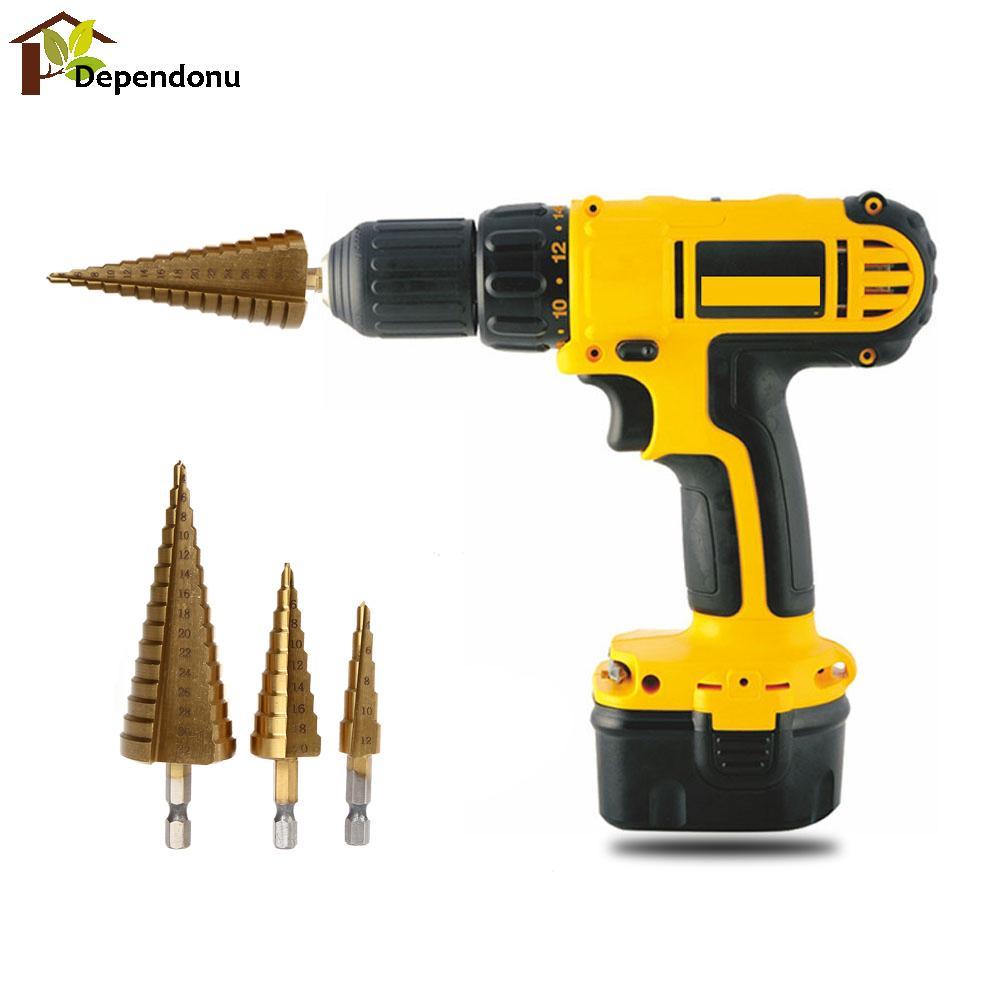 3Pcs/lot Hex Titanium Step Cone Drill Bit Hole Cutter 4-12/20/32mm HSS for Sheet Metal 3pcs lot hex titanium step cone drill bit hole cutter 4 12 20 32mm hss for sheet metal