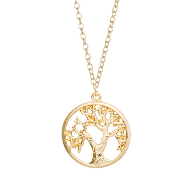 Shuangshuo boho tree of life pendant necklace cute tiny tree in shuangshuo boho tree of life pendant necklace cute tiny tree in circle long necklace plant tree aloadofball Image collections