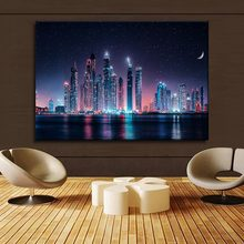 Dubai Skyline At Night Painting 1 Piece Style Canvas Print Type Picture Modern Home Decorative Wall Artwork Poster Framework(China)