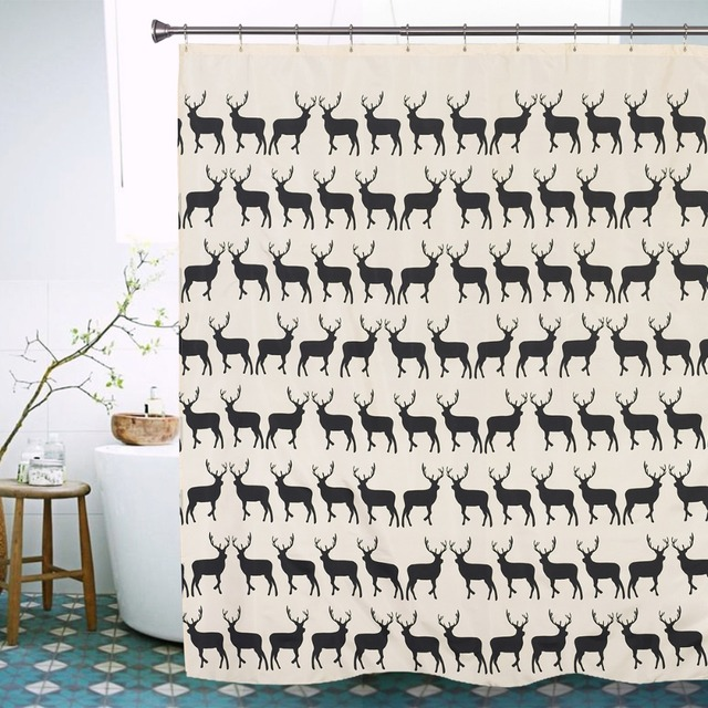 New Creative European Style Fawn Shower Curtains Deerlet Waterproof Bath Curtain Polyester Bathroom 72X78