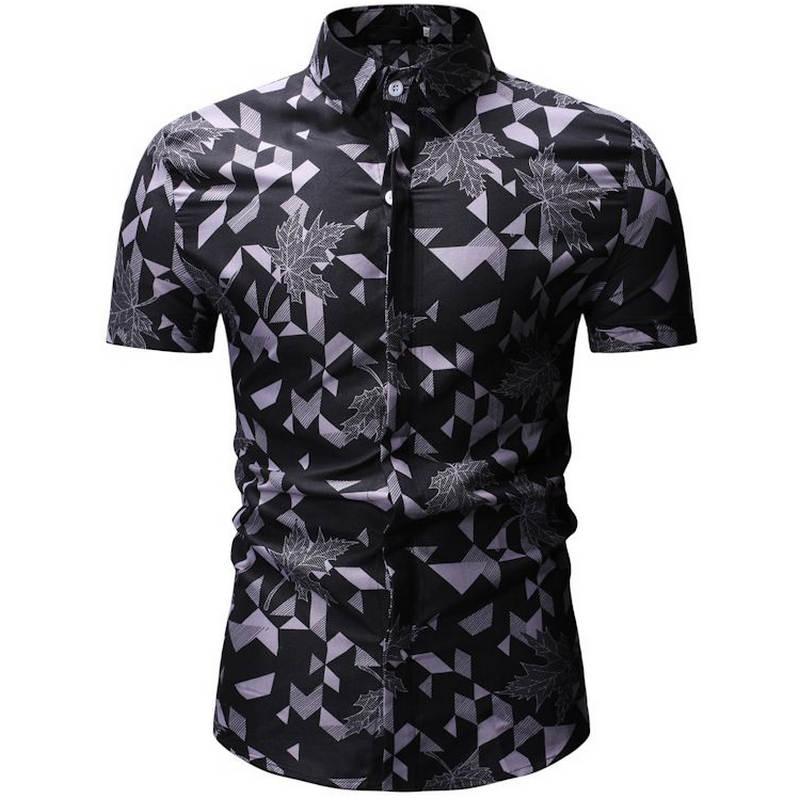 Mens Summer Beach Hawaiian Shirt 2019 Brand Short Sleeve Plus Floral Shirts European Size M-3XL 26 Color Men Clothing Camisas